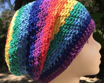 Baby/Toddler Rainbow Slouch Hat Crochet (9-18m*)