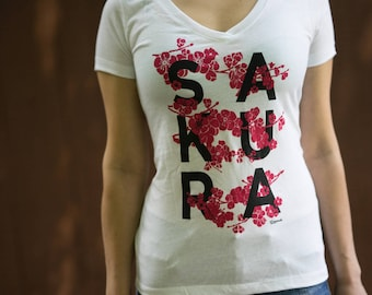 Cherry Blossom Sakura Gift Gardeners Tee Shirt Botanical Plant - Gifts for gardeners + botanists, nature lovers, green thumb