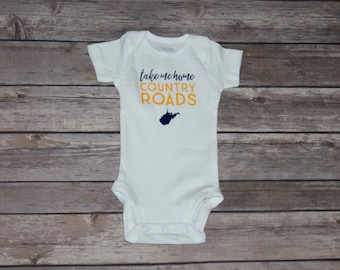 Take Me Home Country Roads West Virginia inspired Baby Bodysuit | Long Sleeve | Short Sleeve