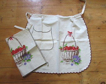 Vintage old stock Joseph Italian Linen half apron & tea towel duo, cherries design