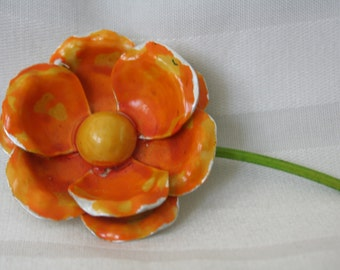 Orange and Yellow Enamel Brooch