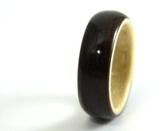 Ebony Wood Wedding Ring With Horse Chestnut Liner