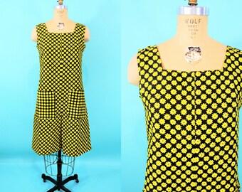 "1960s daisy dress   mod yellow black floral print cotton scooter dress   vintage 60s dress   W 35"""