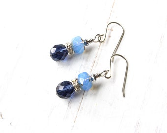Two-Toned Blue Stacked Rhinestone Earrings
