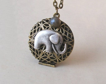 Elephant Locket Necklace, Labradorite Bead, Filigree Round Locket, Elephant Necklace