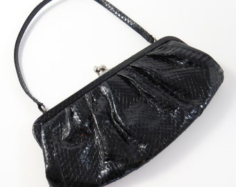 REDUCED:  Be Be' BLACK SNAKESKIN Purse-Clutch 1950's-60's / Turquoise Satin Lining w Inside Pocket / Mad Men Fashion Bag-Prom Evening Bag