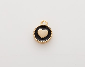 Heart Black Epoxy Pendant , 6mm Round Pendant, Polished Gold Plated - 2 Pieces [AA0187-PGBK]