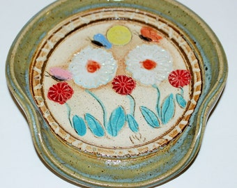 Handmade Pottery Spoon Rest Colorful Flowers and Butterflies