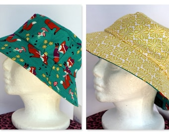 Retro Green & Yellow Reversible Hat - girls sizes 6 mths - 8 yrs, woodland, fox