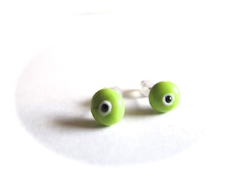 Lime green Evil Eye Stud Earrings