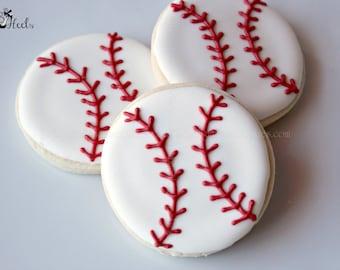 Baseball Decorated Sugar Cookies, Boys Birthday Cookies, Sports Cookies