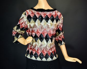 1960s Boatneck Sweater with Harlequin Patterned Sequins by Valentina
