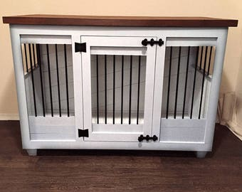 Custom White Dog Kennel Furniture  Dog Crate Furniture   Hinged Door Wood  Kennel   Custom Kennel Dog Bed   Dog Bed   Pet Furniture