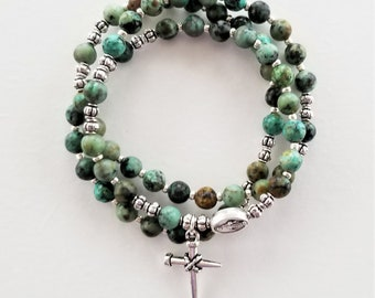 African Turquoise Stretch Rosary Bracelet