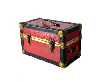 Mini Vintage Buxton Trunk, Small Red Leather Trunk, Travel Case Small Trunk