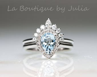 Aquamarine Engagement Ring Set.Unique Aquamarine Engagement Ring.Diamond Engagement Bridal Set.Pear Shaped Aquamarine Engagement ring set