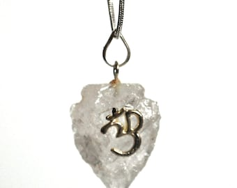 Clear Quartz Arrowhead Pendant Necklace Natural Crystal with 'Om' and Silver Chain