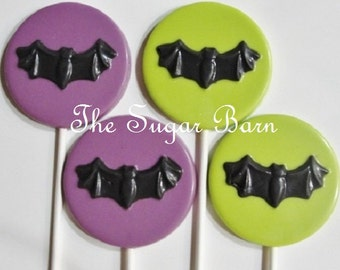 BAT CHOCOLATE LOLLIPOPS*One Dozen*Halloween Party Favor*Halloween Candy*Batman Favor*Batgirl Favor*Trick or Treat*Bat Candy*Bat Party Favor