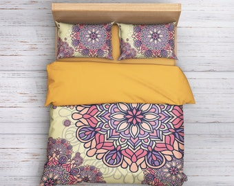 Bohemian Bedding, Boho Bedding, Mandala Bedding, Mandala Duvet Cover Set, Queen Bedding, Hippie Bedding, Shabby Chic Bedding