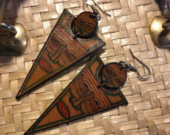 Weird 80's ethnic tribal triangle leather earrings