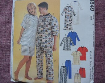 2000s McCalls sewing pattern 3849 mens pajamas UNCUT  mens sizes XS-S-M