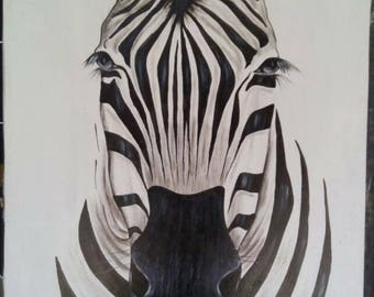 Wall hanging,canvas painting,Africa art,Home decor,Wall decor painting,zebra painting,African wall hanging,Animal painting,Living room decor