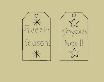 Set of 2 Tags Freezin Season, Joyous Noel Primitive Stitchery E-Patterns