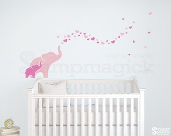 Elephants Blowing Hearts Wall Decal - elephants decal shower of hearts girl nursery baby  wall art decor children's room - K421