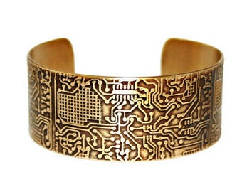 ETCHED CIRCUIT BOARD Cuff - Solid 18 gauge Brass Cuff Bracelet, Handcrafted, Gift for Her, Gift for Him, Electronics, Geekery, Technical