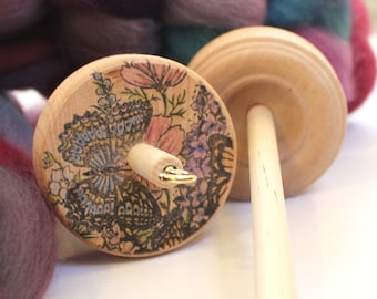 Stamped Drop Spindle for Wool Yarn Spinning Handspun Roving Handspinning Beginner spindle Student Spindle