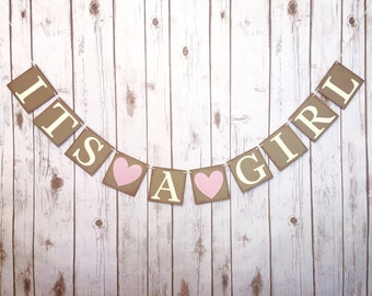 It's a Girl banner, baby shower banner, baby shower decor, gender reveal decor, gender reveal banner, it's a girl sign, rustic baby shower