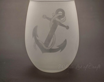 Frosted Wine Glass - Anchor Wine Glass - Nautical Glass - Beach Glasses - Stemless Wine Glass - Beach House - Barware - Anchor and Rope