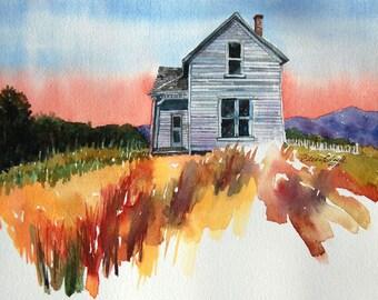 watercolor ORIGINAL McCrady's Place-Sunset farm house rustic watercolour