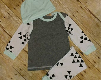 Grey and Blue Baby Boy Set Outfit
