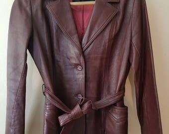 Vintage Red Leather Blazer // Vintage Leather Jacket // Red Leather Jacket // Vintage Leather Blazer