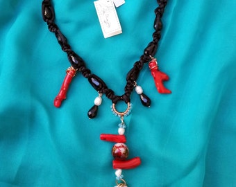 Macrame necklace and bamboo coral
