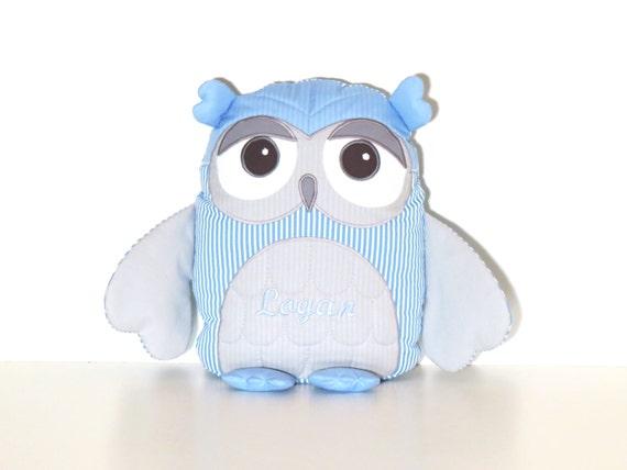 Blue Grey Owl Pillow, Organic Owl, Kid Bedroom Decor,  Stuffed owl