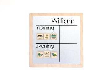 AM/PM Chore Chart - 9x9 Magnet Board - Personalized Chore Board - Magnetic Chore Chart - Personalized Gift for Kids - With Optional Magnets