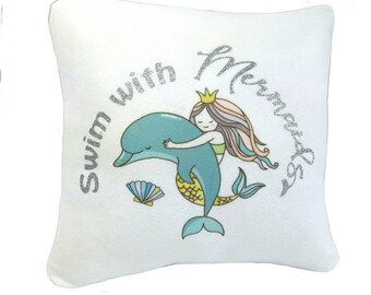 Mermaid pillow, personalized gift, personalized pillow, kids decor, kids room, 1st birthday gift, kids personalised gift, dolphin