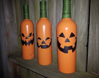 Jack-O-Lantern Wine Bottle Trio