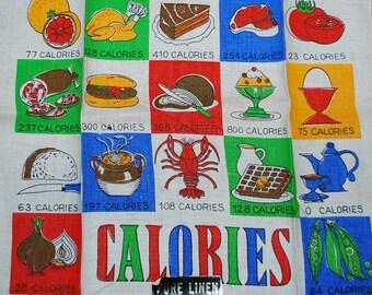Vintage Calories Kitchen Towel - circa 1960s
