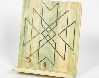 Engraved Wooden Tablet Stand, Cookbook Stand - Aztec, Distressed, Fern Stain