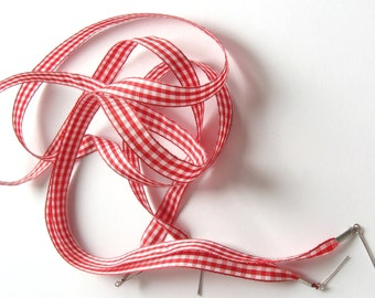 "THE SHOELACES SHOP-Red & White Gingham Shoe Laces, Ribbon Shoelaces, Plaid Shoelaces, White Shoelaces, Red Shoelaces, ""Red All Over"""