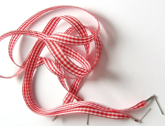 "The Shoelaces Shop Red & White Gingham Shoe Laces, Ribbon Shoelaces, Plaid Shoelaces, White Shoelaces, Red Shoelaces, ""Red All Over"" by Etsy"