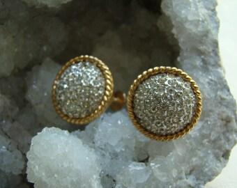 Vintage Marvella Pavé Style Button Earrings