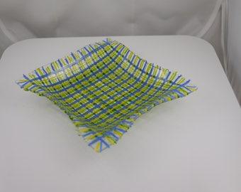 Fused glass basketweave dish