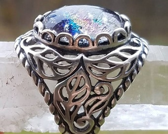 NEW Cremation Jewelry Filigree Leaf Ring Sterling Silver 7, 8 Ashes InFused Glass Pet Memorial