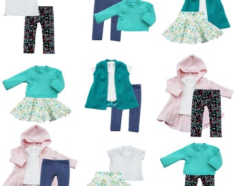 Fits like American Girl Doll Clothes - Easter/Spring Basics Capsule Starter Wardrobe, a 7-Piece Collection | 14.5 Inch Doll Clothes