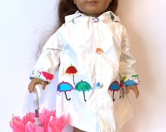 Raincoat Umbrella and Metallic Pink Boots for 18 Inch Doll Clothes Colorful Umbrellas Pink Umbrellas  Also Fit American Girl Doll Clothes
