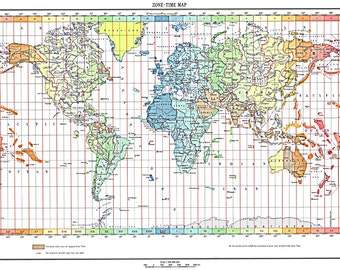 Time zone decal city names decal city names for clocks world map of the time zones full color 1893 print poster gumiabroncs Choice Image